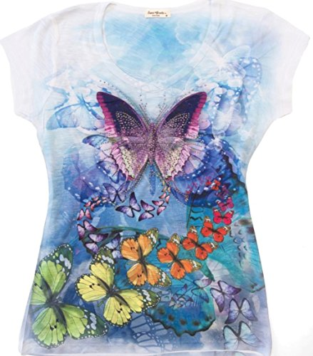Sweet Gisele Colorful Ladies V-Neck 3D Graphic T-Shirt Butterfly w/ Rhinestones