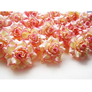 "(100) Silk Cream Pink Edge Roses Flower Head - 1.75"" - Artificial Flowers Heads Fabric Floral Supplies Wholesale Lot for Wedding Flowers Accessories Make Bridal Hair Clips Headbands Dress 2"