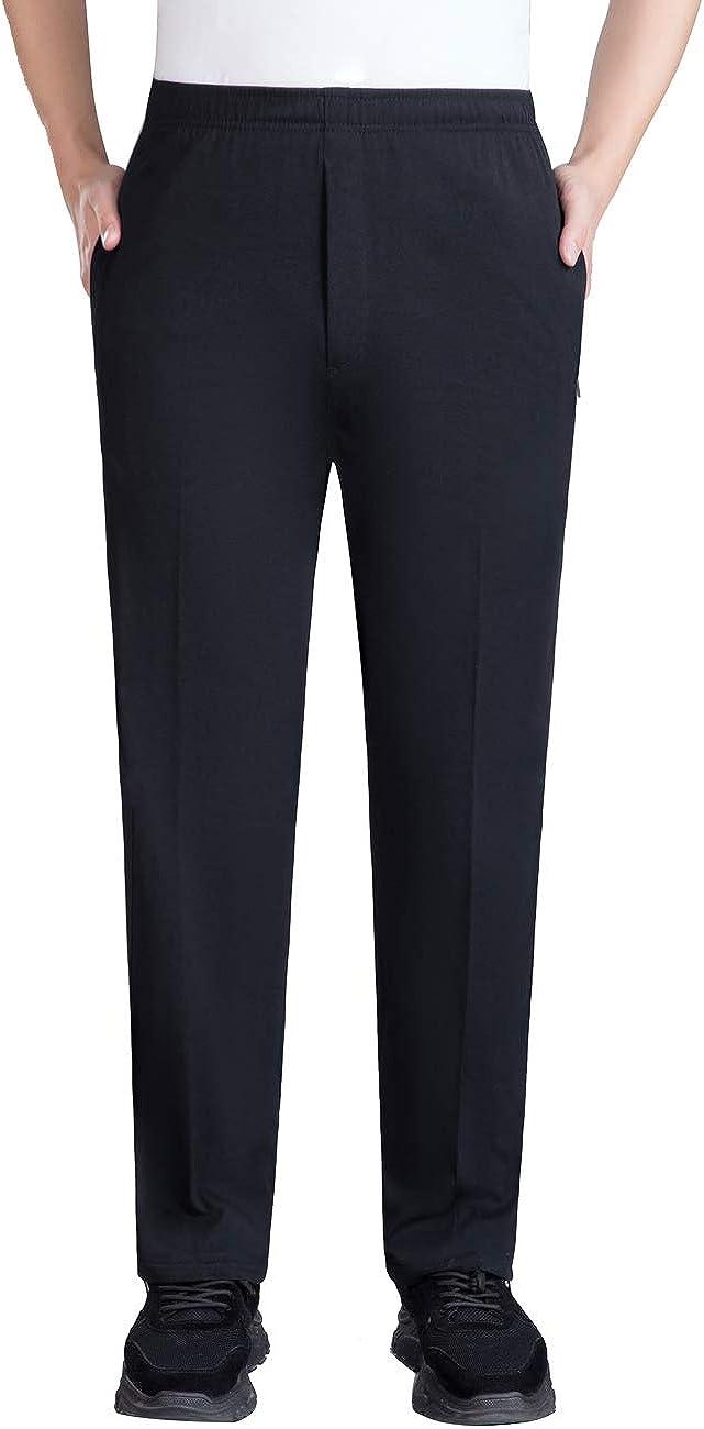 Zoulee Men's Front Zip Open-Bottom Sports Pants Sweatpants Trousers