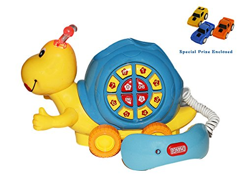 Bezrat Battery Operated Bump & Go Educational Fun Roll-Along Pals Snail with Chatter Telephone (colors may vary) FREE GIFT (Chatter Telephone)