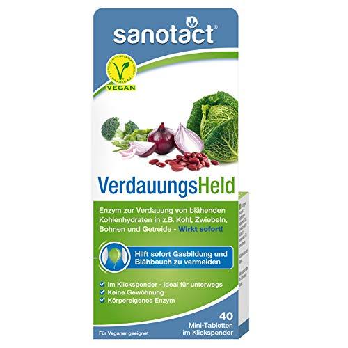 sanotact Verdauungsheld - 40 Tabletten, Nahrungsergänzungsmittel, Hilft bei Blähungen und Blähbauch durch z.B. Kohl, Zwiebeln