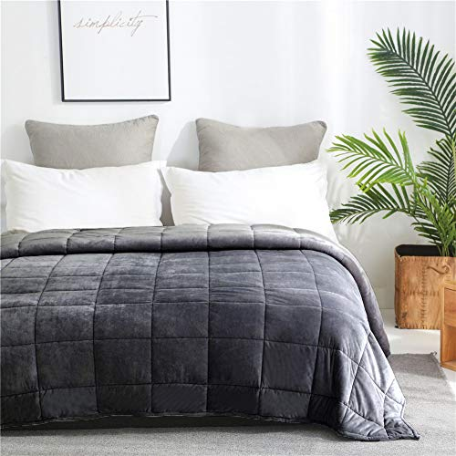 Cheap Hooshing Weighted Blanket 15 Lbs 60x80 Queen Size Grey Black Friday & Cyber Monday 2019