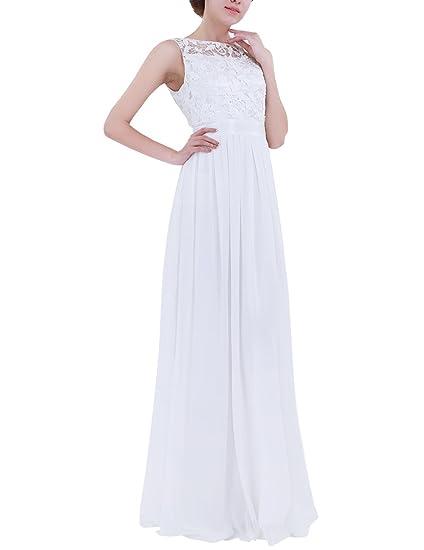 9d90d65ce3d iiniim Robe de Cérémonie Longue Femme Blanche Dentelle Robe de Demoiselle  d honneur Brodé Fleur