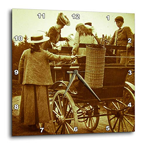 3dRose Scenes from The Past - Magic Lantern - Edwardian Family Loading into Early Automobile Circa 1905-15x15 Wall Clock (DPP_300300_3)