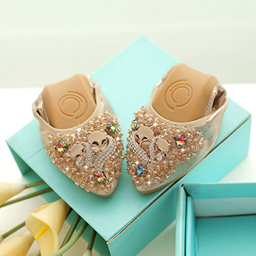 Jitong Womens Glitter Flats Pointed-Toe Elegant Rhinestone Loafers Moccasins Slip on Summer Casual Boat Shoes Gold zSmCopdQ6
