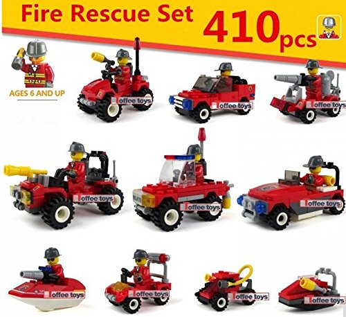10 car 410PCS TECHNIC City Fire Rescue DIY Model Vehicle TOYS Building Blocks Kids Brick parts Compatible With Lego Boys Gifts legetøjsfigur spil (No original BOX) (Ez Bake Oven Parts compare prices)