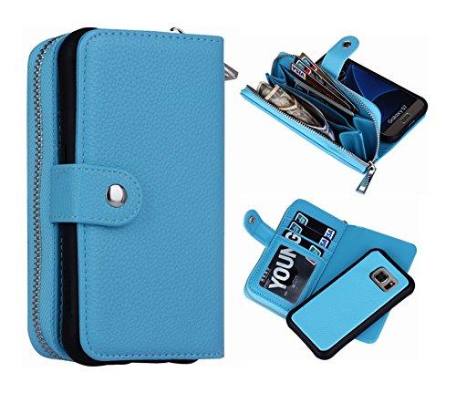 S7 Wallet Case, Magnetic Detachable S7 Wallet Purse Hynice Samsung Galaxy S7 Leather Folio Flip Slim Case with Zipper Credit Card Slots, Card Holder, Wrist Strap Wallet for Women Men(Lichi-Blue)
