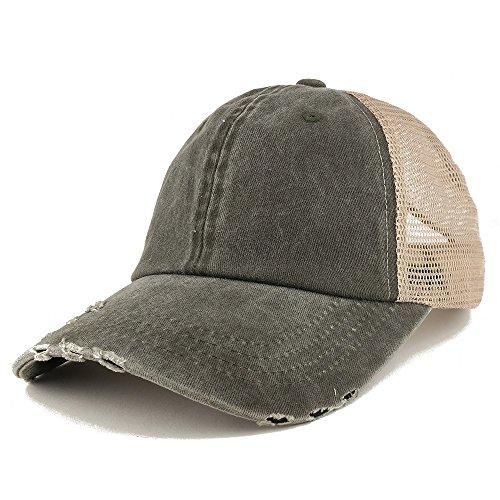 (Trendy Apparel Shop Pigment Dyed Front Mesh Back Frayed Bill Trucker Cap - Dark)
