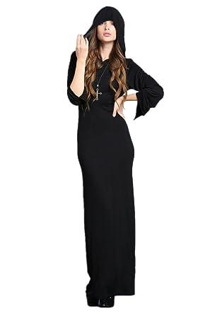 37034af88ca Darkinlove Longue Robe Noire Moulante Capuche Croix Dos Ouvert Sexy  Gothique Vampire - L XL  Amazon.fr  Vêtements et accessoires