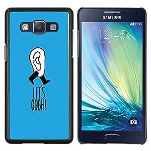 KLONGSHOP // Cubierta de piel con cierre a presión Shell trasero duro de goma Protección Caso - Gogh Broma azul divertido artista Clever - Samsung Galaxy A5 A5000 //