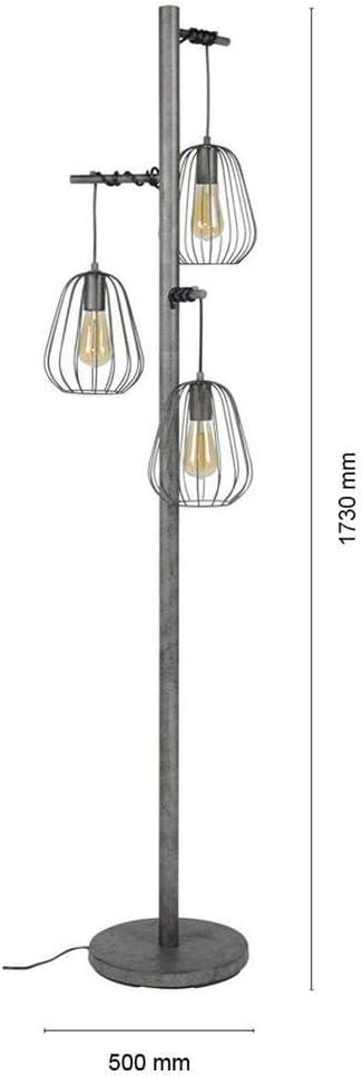 1x E27 Stehlampe f/ür Wohnzimmer Standleuchte Vintage Bogenlampe Wohnzimmerleuchte Industrial Design gedreht famlights Bogenleuchte Riccardo aus Metall in Antharzit Designerleuchte Stehleuchte