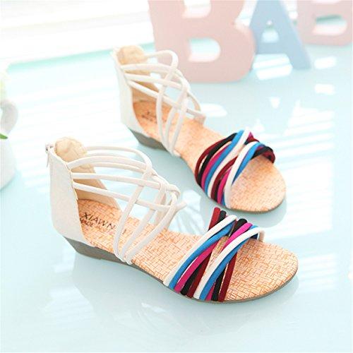 Blanc plage de Sandales Lalang Bohème Chaussures Plates Femmes Sandales w4qwPpX8