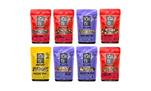 Tiesta Tea Dry Flight Sampler, Holiday Teas, 8 Count 1 Ounce Pouches, Loose Leaf Herbal Tea Blends, 8 to 12 Servings of Each Flavor, Gift Set