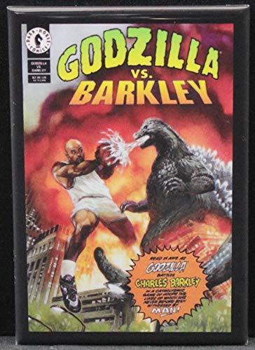 Godzilla Vs. Charles Barkley Refrigerator Magnet. (Magnet Godzilla)