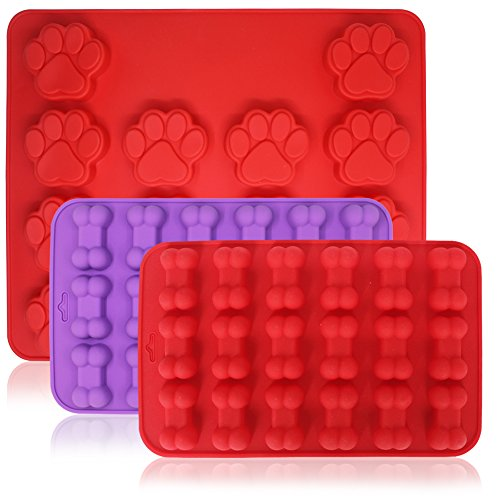 FineGood 3 Pcs Paw & Dog Bone Silicone Molds, 18-Cavity and 14-Cavity of Candy Tray, Cookies Maker for Puppy Pets and Kids, Biscuit Baking Muffin Pan (Dog Biscuits Maker)