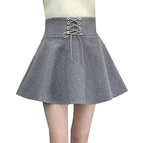Mujer Cortas Faldas De Mezcla De Lana Cintura Alta Elegantes Retro ...
