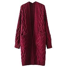 Futurino Women's Twist School Wear Open Front Longline Knit Sweater Cardigan