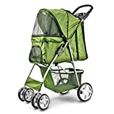 Flexzion Pet Stroller (Green) Dog Cat Small Animals Carrier Cage 4 Wheels Folding Flexible Easy Walk for Jogger Jogging Travel Up to 30 Pounds With Rain Cover Cup Holder and Mesh Window