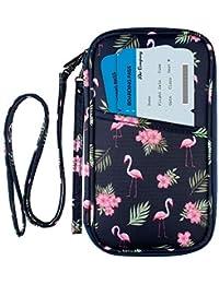 RFID Family Passport Wallet Holder Waterproof, Travel Document Organizer Credit Card Clutch Bag for Men Women (RFID Flamingo)