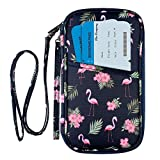 RFID Family Passport Wallet Holder Waterproof, Travel Document Organizer Credit Card Clutch Bag for Men Women (Flamingo RFID)