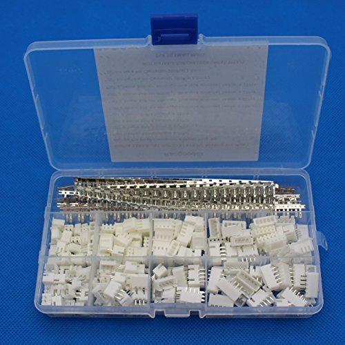 Raogoodcx 600Pcs 2.54mm JST-XHP 2 / 3 / 4 / 5 Pin housing and Male / Female Pin Head Connector Adapter Plug Set
