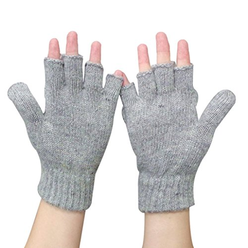 Guantes calientes para Mujeres,Ouneed ® Invierno mantener caliente calentador guantes sin dedos lana Gris