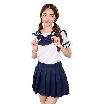 Vestido Encantador Del Traje Del Uniforme de La Escuela Uniforme Para la Criada de la Muchacha (S, Azul 2)