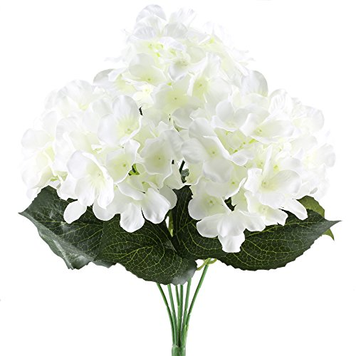 White summer flowers in bulk amazon hogado 6 heads artificial silk flowers hydrangea bouquet arrangements fake plant in bulk diy wedding table centerpieces wreath cream mightylinksfo