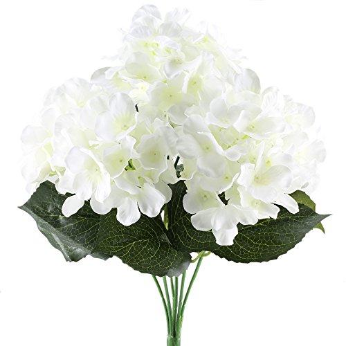 Hogado 6 Heads Artificial Silk Flowers Hydrangea Bouquet Arrangements Fake Plant in Bulk DIY Wedding Table Centerpieces Wreath Cream (Hydrangea Artificial Arrangement)