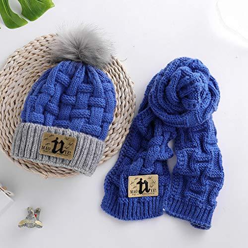 Acmede Mignonne Bleu Chapeaux Chaud D'hiver Écharpe Garçons Set Tricoté Filles Enfants Costume Bébés ArABa