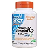 Doctor's Best Natural Vitamin K2 MK-7 with MenaQ7, Non-GMO, Vegan, Gluten Free, Soy Free, 100 mcg, 60 Veggie Caps