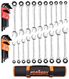HORUSDY 20 Piece Ratcheting Wrench Set and 26 Piece Allen Wrench Set, SAE & Metric Combination Ended Standard Kit - Ratchet Wrenches Roll up Neatly In An Organizer Bag for Storage In