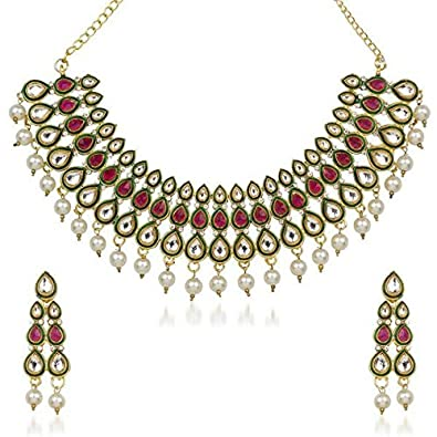 Buy Maitreya Wonder Purple Stone Kundan Necklace Set Online at Low