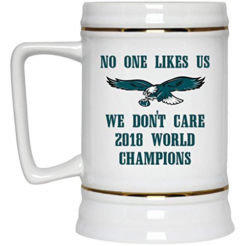 Philadelphia Eagles Beer Mug Eagles Beer Stein Super Bowl 52 World Champions Eagles No One Likes Us We Don't Care 22 oz White Ceramic Beer Cup NFL NFC Football Perfect Gift for any Eagles Fan ()
