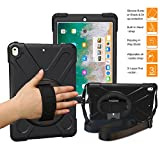 BRAECNstock iPad Pro 10.5 Case for Pad Pro Case 10.5 inch Three Layer Drop Protection Rugged Protective Heavy Duty iPad Case with Kickstand/ Hand Strap/ a Shoulder Strap for iPad 10.5 Pro Case(Black)