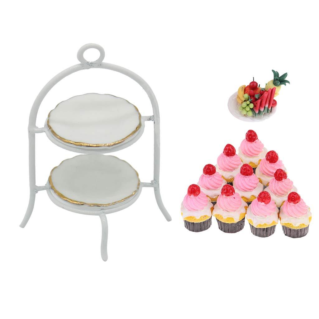 1//12 Food Stand With Porcelain Plate /& Fruit Platter Cream Cake Food Models