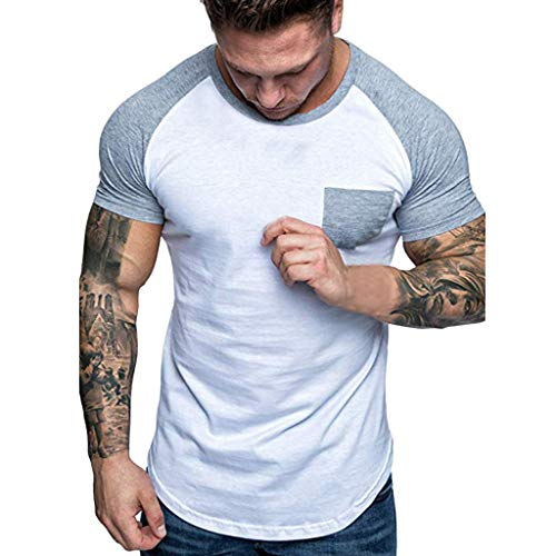 iHPH7 T-Shirt Men Crew T-Shirt Fashion Men Slim Fit Patchwork Pocket Short Sleeved T-Shirt Top Blouse L Gray]()