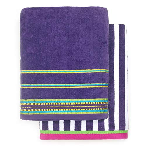 Ben Kaufman - Oversized 40 X 70 Solid Color Velour super soft Beach and Pool Towel Set of 2 pieces . Easy care, Extra Large (Purple)