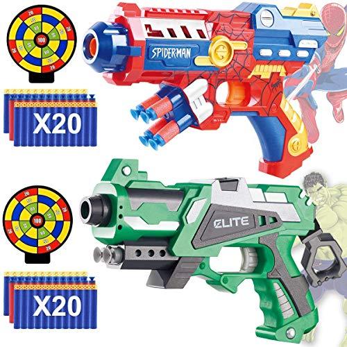 POKONBOY Foam Dart Gun Toy Gun - 2 Sets Super Hero Toy Guns with 40 Pack Refill Foam Bullet Darts and 2 Targets