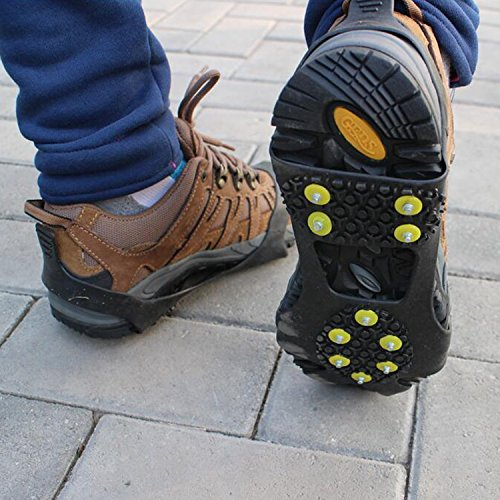 Ice Cleets, Tresbro Ice Cleats for Boots, Shoes, Traction Snow Grip Spikes for Walking, Hiking, Climbing, Fishing Gear, Running, Driving