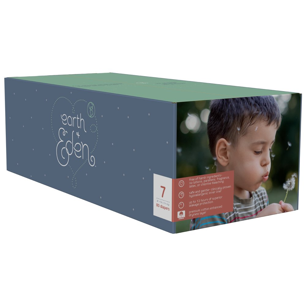Earth + Eden Baby Diapers, Size 7, 80 Count by Earth+Eden