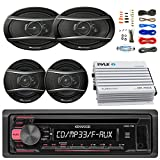 Kenwood KDC118 Car Radio AUX CD Player Receiver - Bundle With 2x TSA1676R 6.5'' 3-Way Car Audio Speakers - 2x 6.5''-6.75'' 4-Way Stereo Speaker + 4-Channel Amplifier + Amp Kit