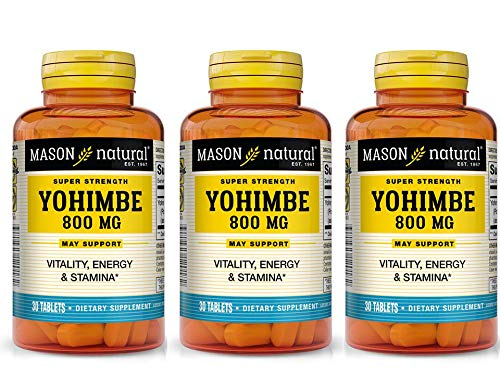 Super Strength Yohimbe 800 mg, 30 Tablets, Mason Natural (3 Pack)