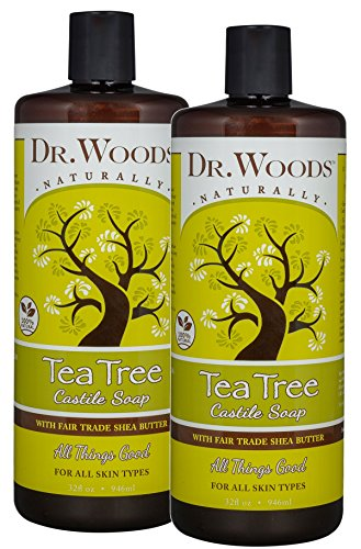 Dr. Woods Pure Tea Tree Liquid Castile Soap with Organic Shea Butter, 32 Ounce (Pack of ()