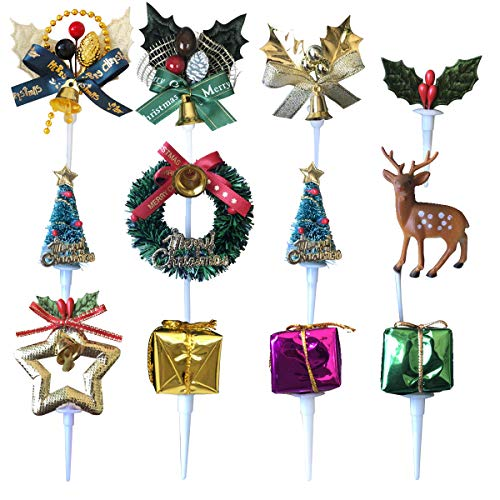 Christmas Cake Topper 12 PCS Christmas Cake Decorations 3D Cupcake Picks Christmas Party Supplies Including Holly Leaves/Evergreen Trees/Christmas Wreath/Reindeer ()