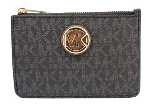 Michael Kors Fulton Small Top Zip ID Coinpouch with key Chain (Brown PVC) (Key Holder Wallet Michael Kors)