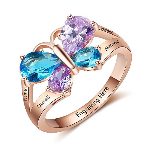 Ashleymade Personalized Mothers Rings with 4 Simulated Birthstones Rings for Mothers Promise Butterfly Ring for Women (Rose Gold, 8)