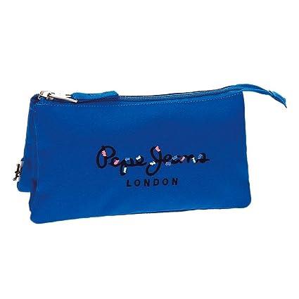 Estuche Pepe Jeans Harlow Azul tres compartimentos: Amazon ...