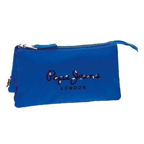 Estuche Pepe Jeans Harlow Azul tres compartimentos