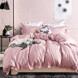 MEMORECOOL LIGHT UP YOUR HOME Flounce Duvet Cover Sets Pink - Pure Color US Size Girls' Bedroom Gift Soft Touch Twin